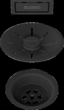 Set de bonde et trop-plein noir mat, cuve simple