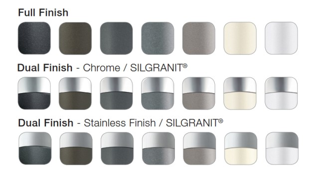 Faucet Finish Colour Palette - Full Finish, Dual Finish with Chrome or Stainless Steel