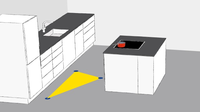 This working triangle is smaller in kitchens with an island unit.