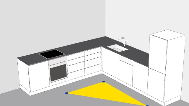 In an L-shaped kitchen, the routes are divided between the cooking and serving areas.