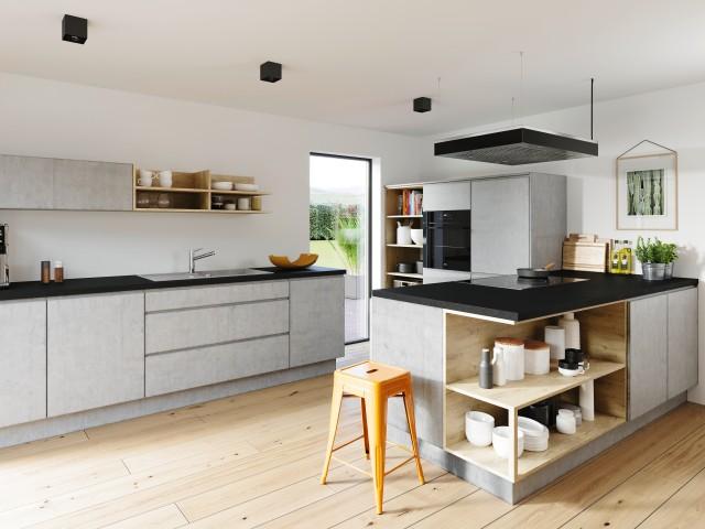 Eine moderne Küche mit Beton Akzenten