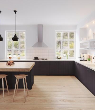 Eine Küche mit schwarzen Fronten
