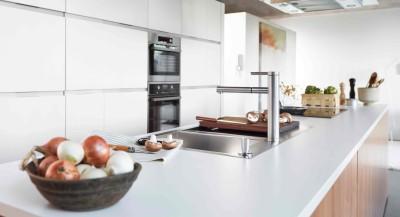 Eine moderne weiße Küche mit Pilzen auf der Arbeitsplatte