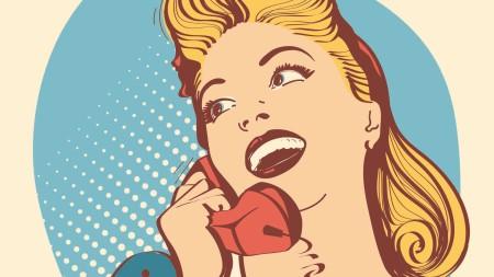 Ein Pop-Art Bild, dass eine blonde Frau mit einem roten Telefonhörer zeigt