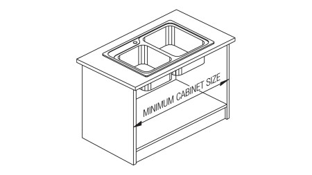 Always know your minimum cabinet size when replacing a kitchen or laundry sink
