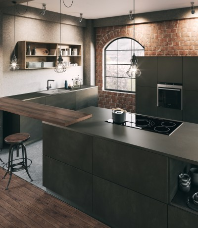 a concrete kitchen in the modern industrial style
