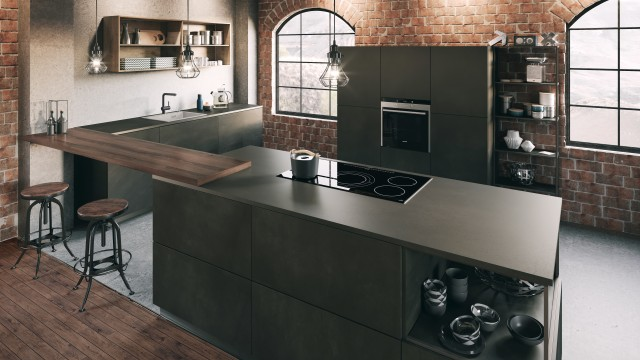A chic concrete kitchen in industrial style
