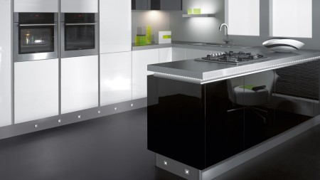 White kitchen with feature lighting