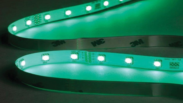 Green LED strip lighting