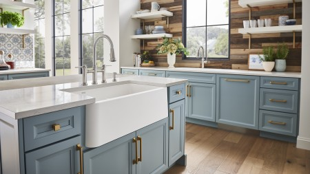 Baking at home with a white farmhouse kitchen sink!