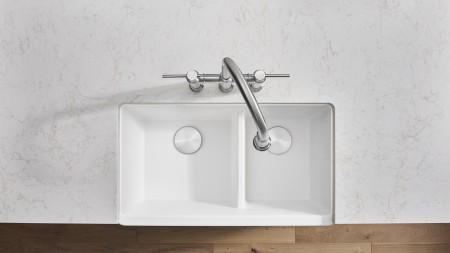 Baking cookies or muffins is so much easier with a white BLANCO IKON farmhouse kitchen sink