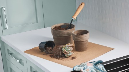 Repotting plants like a pro with a SILGRANIT BLANCO kitchen sink