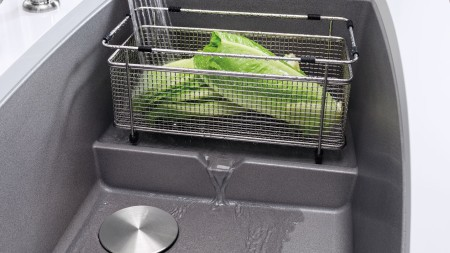 A BLANCO mesh basket will help you multitask within your sink station