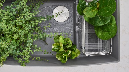The BLANCO PERFORMA CASCADE kitchen sink is ideal for gardening chores