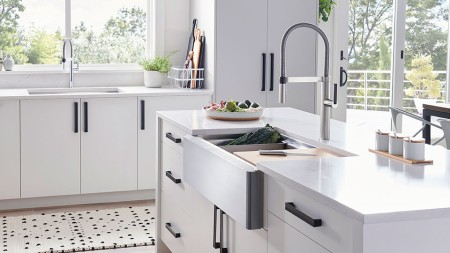 If you suffer from lower back pain when bending over, a farmhouse sink is a great option