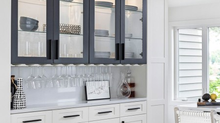 Glass shelving allows you to display your collections while keeping them dust-free