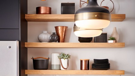 Open shelving is an easy way to organize clutter while showing off your most beautiful collections