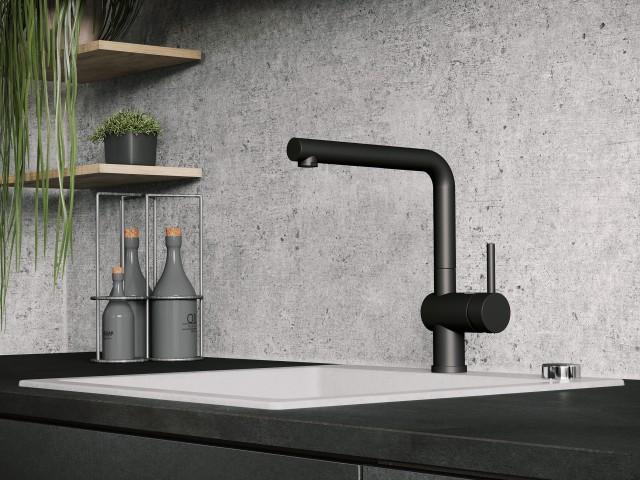 Linus mixer tap in black matt, combined with the Pleon 8 in Silgranit PuraDur in the concrete-style