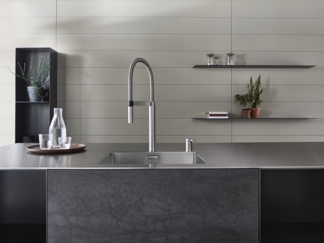 SolidEdge worktops in stainless steel chime perfectly with contemporary, minimalist interiors