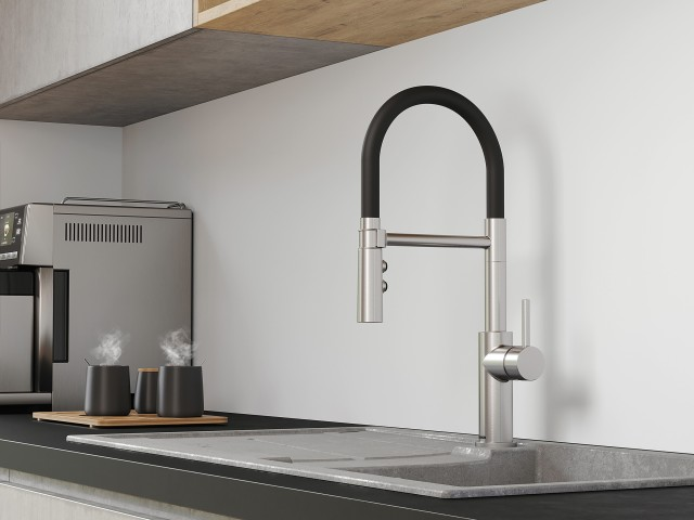 Catris-S Flexo in stainless steel finish combined with the Silgranit Blanco Metra XL 6 S sink