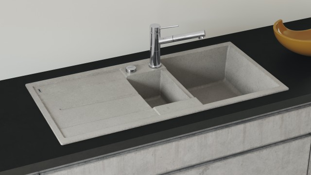 The successful Blanco Metra sink range features striking corner and base radii and an angular design