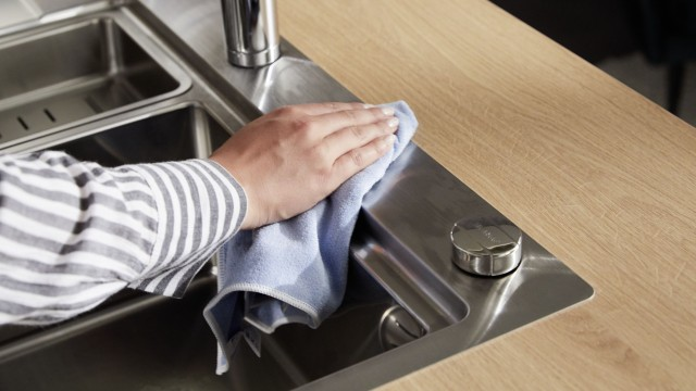 Perfectly cleaned stainless steel sink
