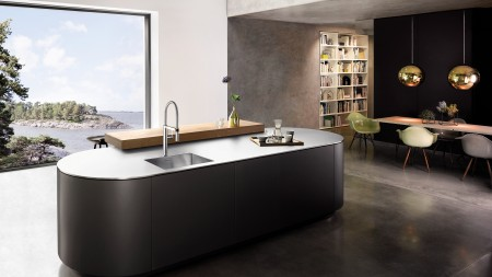 An elegant stainless steel worktop with integrated sink