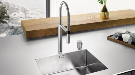 The BLANCOCULINA-S Duo is a two-hole mixer tap that can be custom-installed.