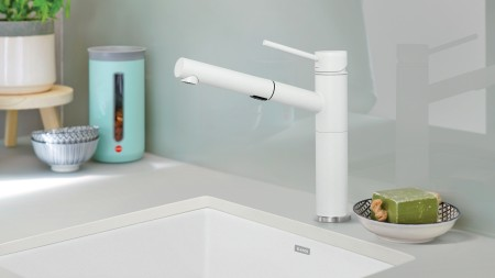 Alta Colour Coordinated Kitchen Faucet in Full Finish SILGRANIT White
