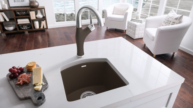 Artona Bar & Prep Faucet in Stainless Steel and SILGRANIT Cafe finish