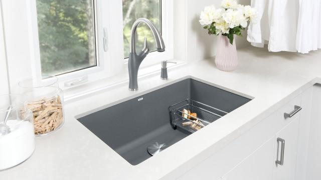 Artona Kitchen Faucet in Dual Finish Metallic Gray/Stainless Finish