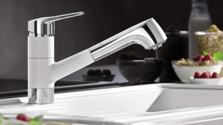 The single-lever mixer offers convenient regulation of water temperature and pressure.