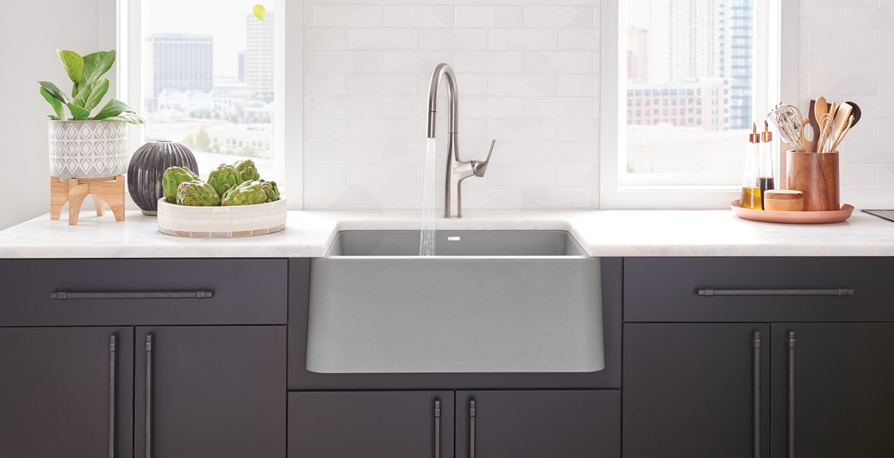 IKON 27 in SILGRANIT Concrete Gray and Rivana High Arc Kitchen Faucet in Stainless Steel