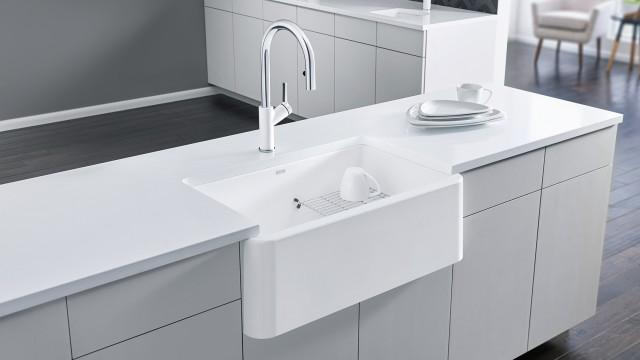 Urbena Kitchen Faucet in Dual Finish White/Chrome
