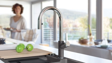 Urbena Kitchen Faucet - Colour Coordinated Chrome/Cinder Dual Finish by BLANCO