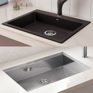 Stainless Steel and Granite Composite Wheelchair Accessible Kitchen SInks