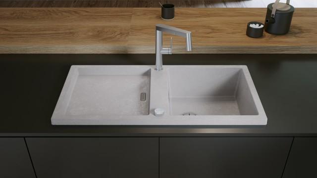 BLANCO ADON XL fügt sich elegant in Küchen mit architektonisch inspiriertem Design ein.