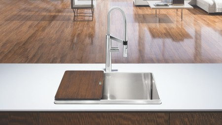 Attika STEELART Kitchen Sink with Walnut Cutting Board