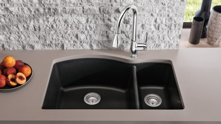 DIAMOND 1.5 - Offset Double Bowl Kitchen Sink in SILGRANIT