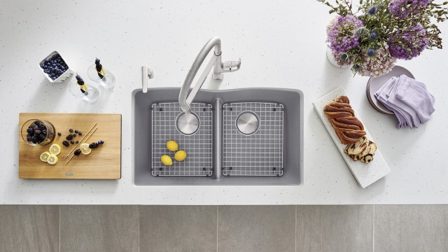 Diamond U2 Kitchen Sink in Metallic Gray with Rivana Semi Pro and Soap Dispenser in PVD Steel