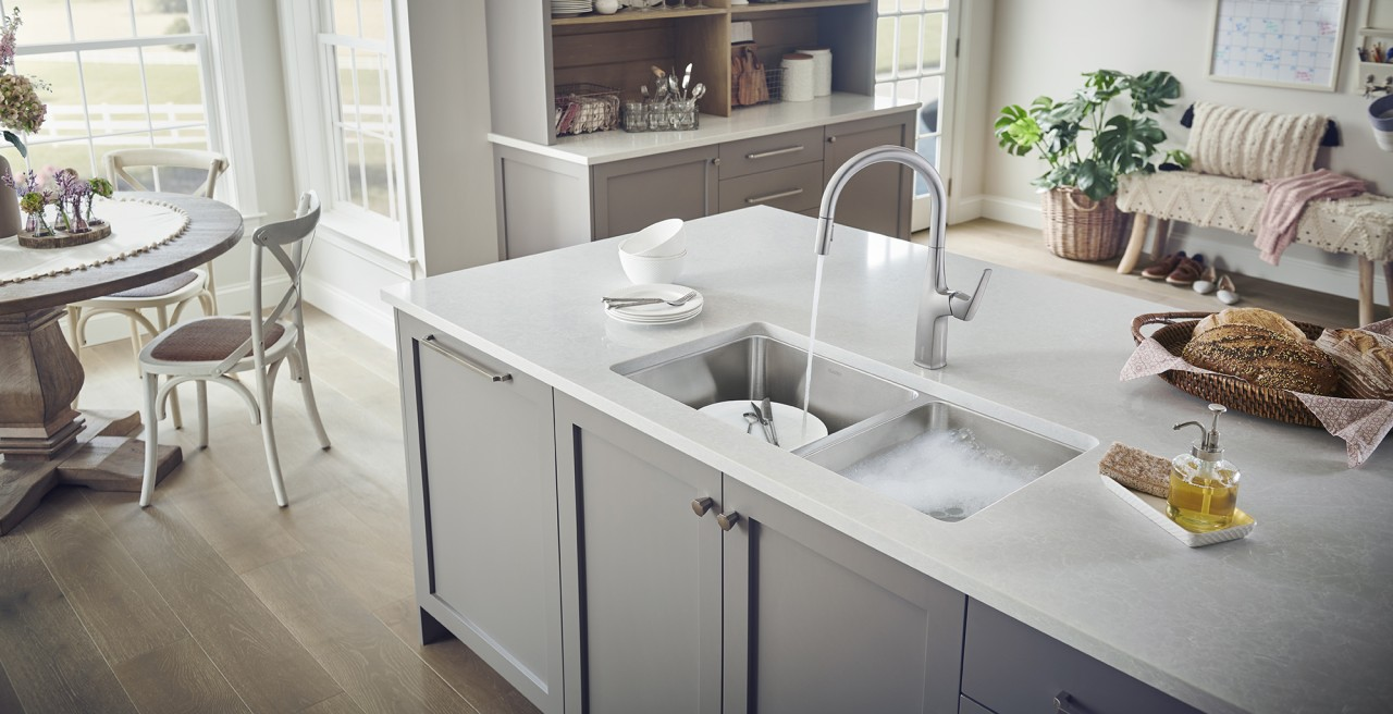 Formera Equal Double Stainless Steel Kitchen Sink - BLANCO stainless steel is heat-resistant