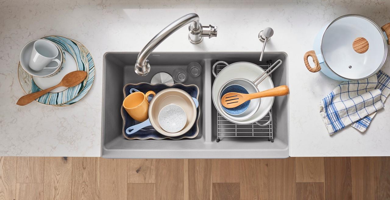 Ikon 30 Farmhouse Kitchen Sink in BLANCO coal black with Catris Flexo Kitchen Faucet in PVD Steel