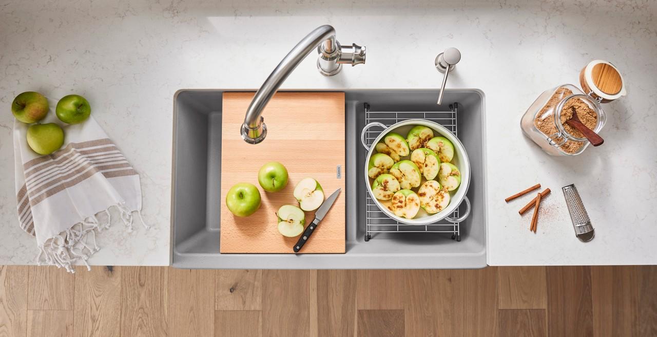 Ikon 27 Farmhouse Kitchen Sink in BLANCO concrete gray with Rivana High Arc Kitchen Faucet