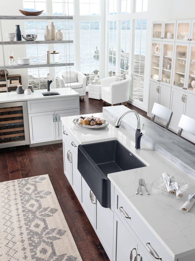 Ikon 30 Farmhouse Kitchen Sink in BLANCO anthracite with Artona Kitchen Faucet Dual Finish