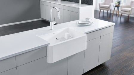White farmhouse kitchen sinks are very easy to clean and maintain