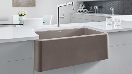 Ikon 33 Farmhouse Kitchen Sink in Truffle with Panera Kitchen Faucet in Solid Stainlee Steel
