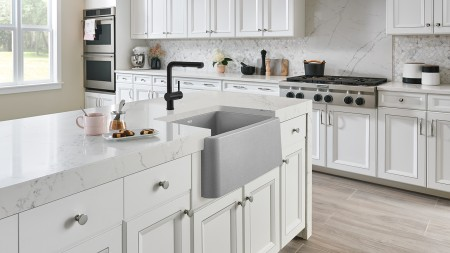 IKON 27 Farmhouse Kitchen Sink in Concrete Gray