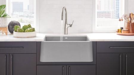 Ikon 27 Farmhouse Kitchen Sink in BLANCO Concrete Gray