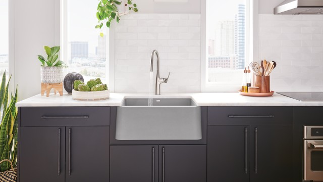 Ikon 27 Farmhouse Sink in Concrete Gray with Rivana High Arc Kitchen Faucet in Stainless Steel