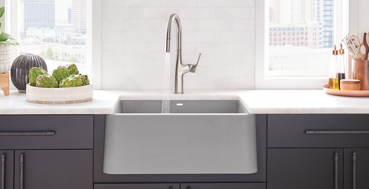Ikon 27 Farmhouse / Apronfront Kitchen Sink in SILGRANIT Concrete Gray